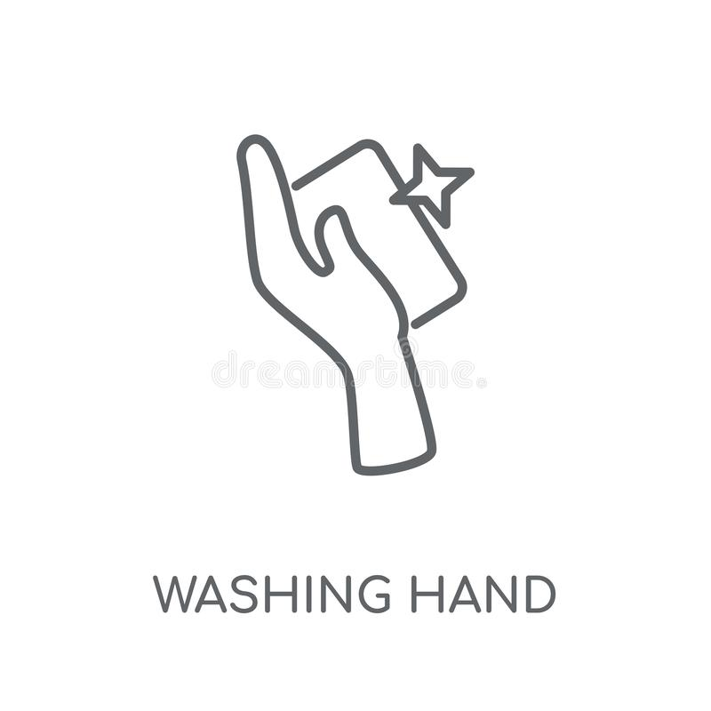 Washing hand linear icon. Modern outline Washing hand logo conce royalty free illustration