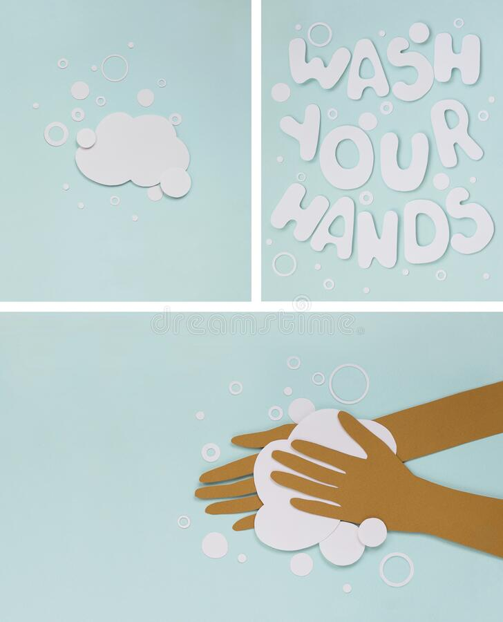 Washing Hands concept. Set of three posters with Hand washing with soap in pandemic time. royalty free stock photos