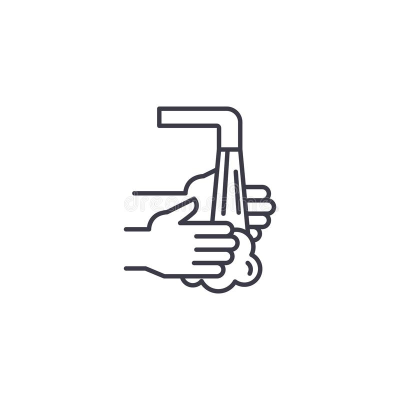 Washing hands linear icon concept. Washing hands line vector sign, symbol, illustration. Washing hands line icon, vector illustration. Washing hands linear stock illustration