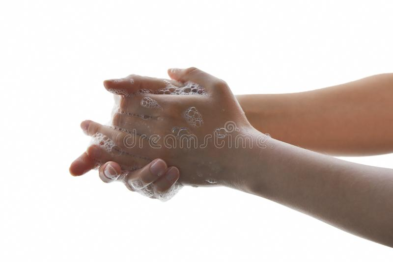 Washing hands with liquid soap. royalty free stock photo