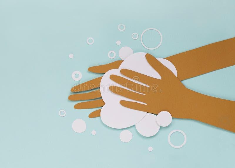 Washing hands with soap, paper cut illustration. Coronavirus epidemic prevention. epidemic stock photos
