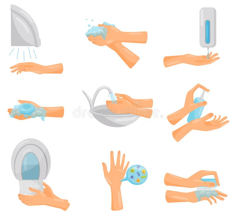 Washing hands step by step set, hygiene, prevention of infectious diseases, health care and sanitation vector stock illustration