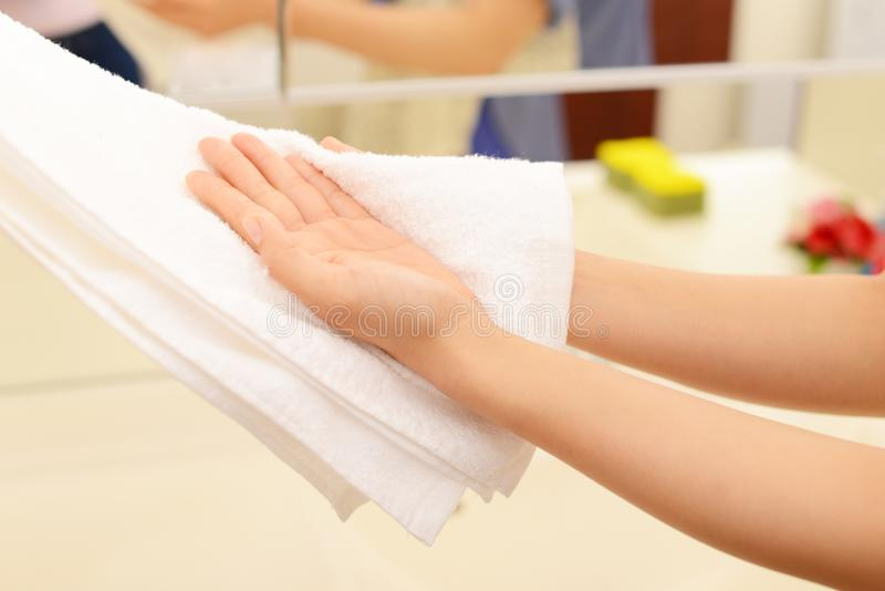 Washing Hands. In the washroom royalty free stock photos