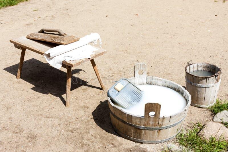 Washing, Kaszubski ethnographic park in Wdzydzki Park Krajobrazo. Wy, Pomerania, Poland, outdoors, outside, exteriors, europe, eastern, pomeranian, scanzen, folk stock image