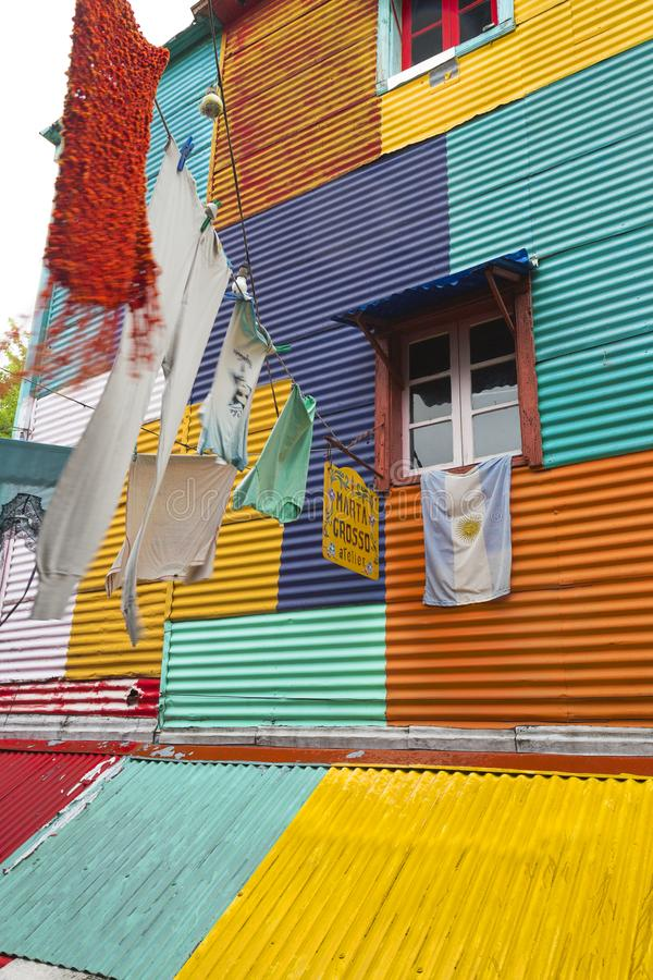 Washing in La Boca. Clothes hanging in the colourful La Boca district of Argentina stock photography