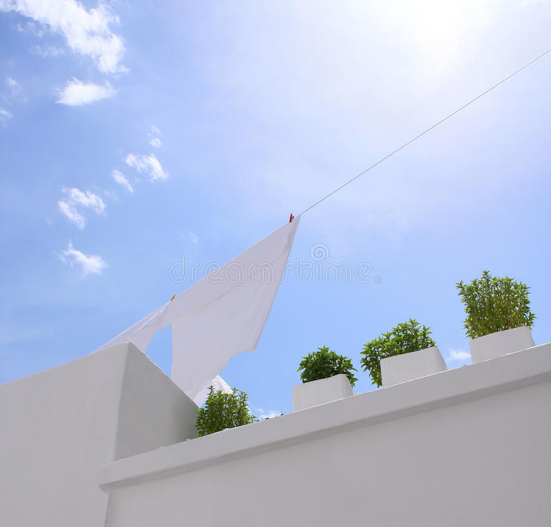 Washing Line With Blue Sky Royalty Free Stock Photo