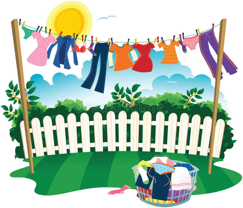 Washing line and clothes. A drawing of a typical washing line with clothes drying on it. E.P.S. 10 vector file included with image, isolated on white royalty free illustration