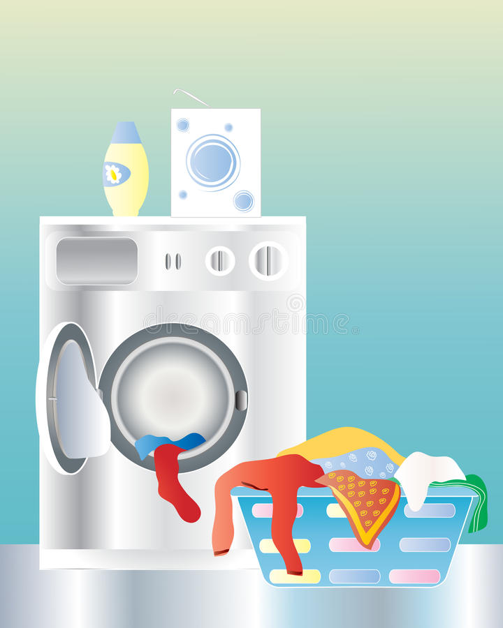 Washing machine. An illustration of a washing machine with an open door and laundry basket on a shiny kitchen floor vector illustration