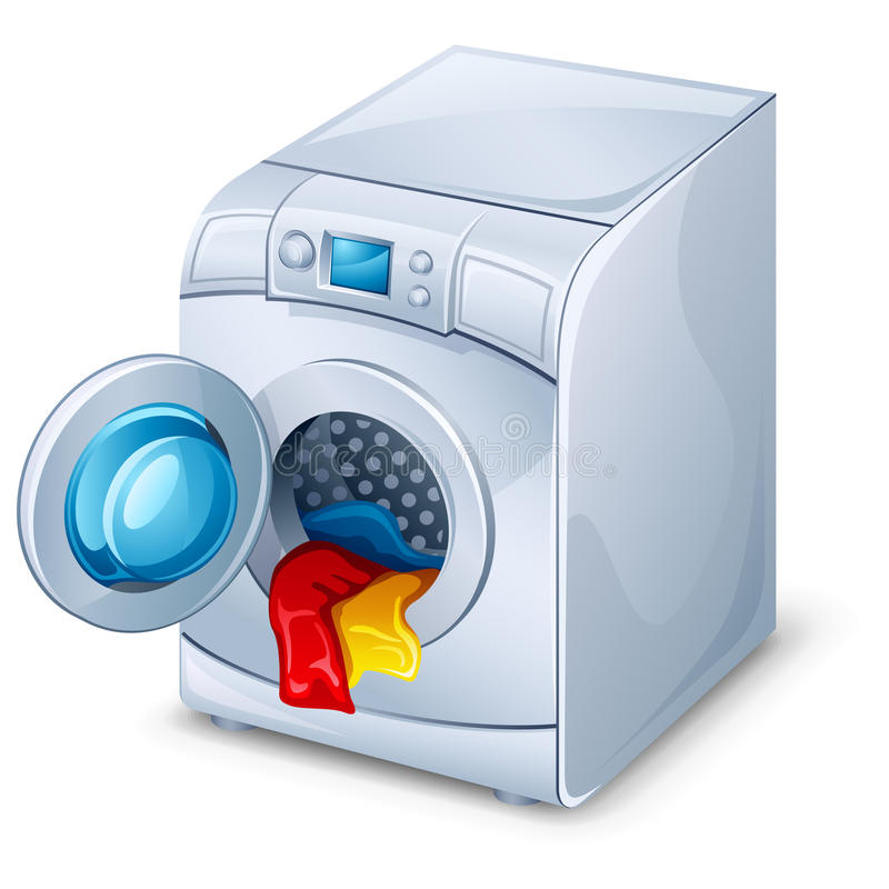 Washing machine. Vector illustration of washing machine on white background
