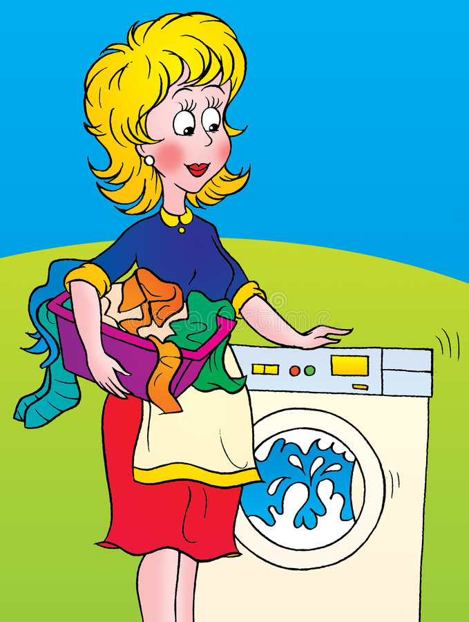 Washing Machine. Woman with laundry basket and washing machine stock illustration