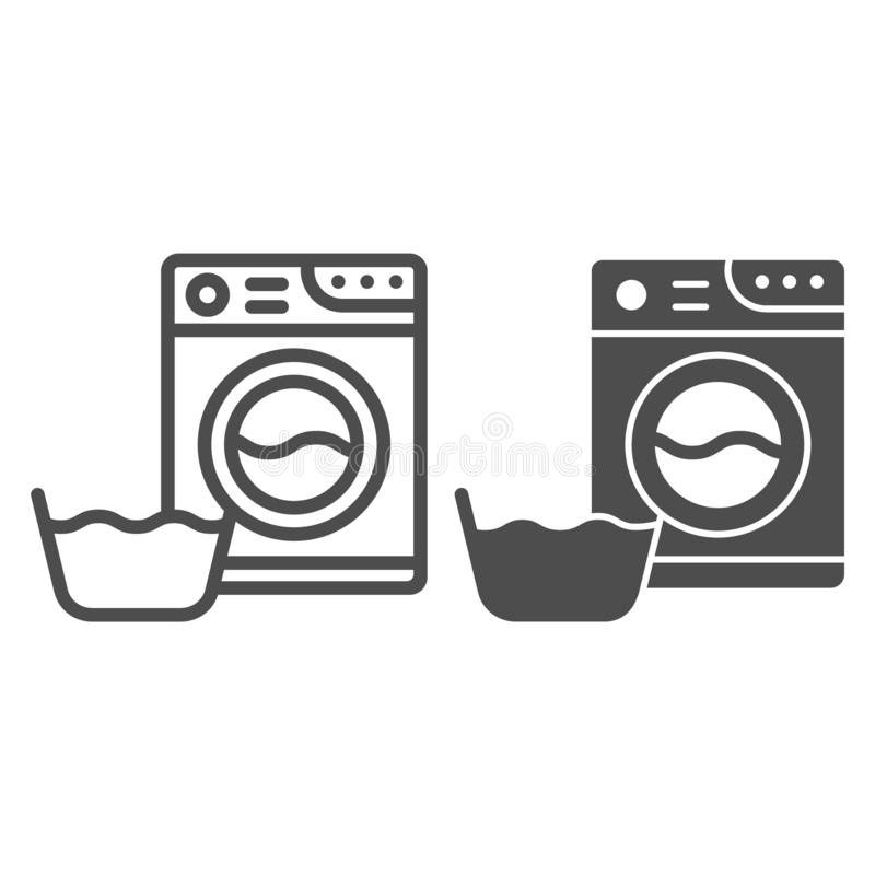 Washing machine and basin line and glyph icon. Laundry room vector illustration isolated on white. Washer and basket royalty free illustration