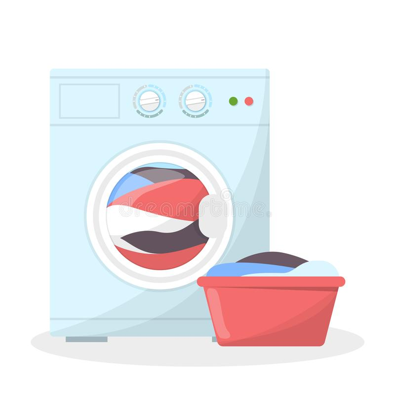 Washing machine and basket full of dirty clothes near. Laundry and domestic work. Equipment for things cleaning. White washer. Isolated flat vector vector illustration