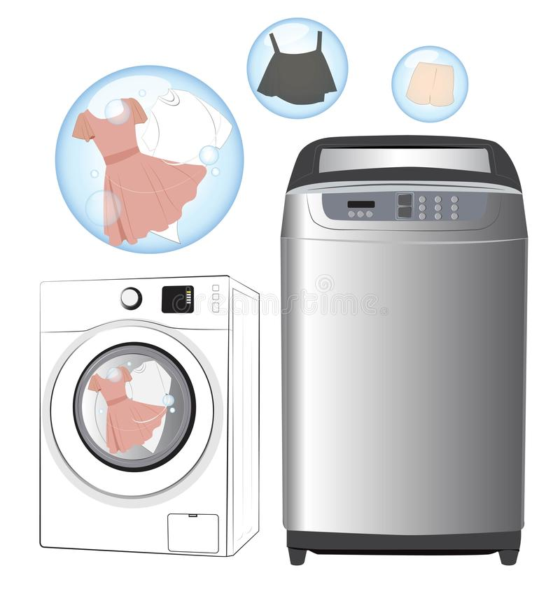 Washing machine. And clothing on white background royalty free illustration