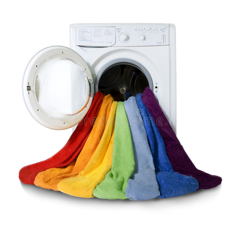 Washing machine and colorful things to wash stock photos