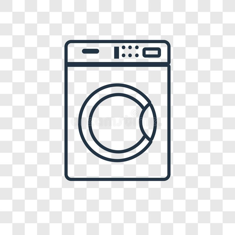Washing machine concept vector linear icon isolated on transparent background, Washing machine concept transparency logo in. Washing machine concept vector royalty free illustration