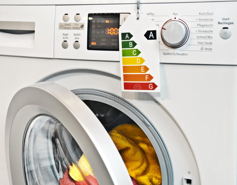 Washing machine with energy efficiency label stock images