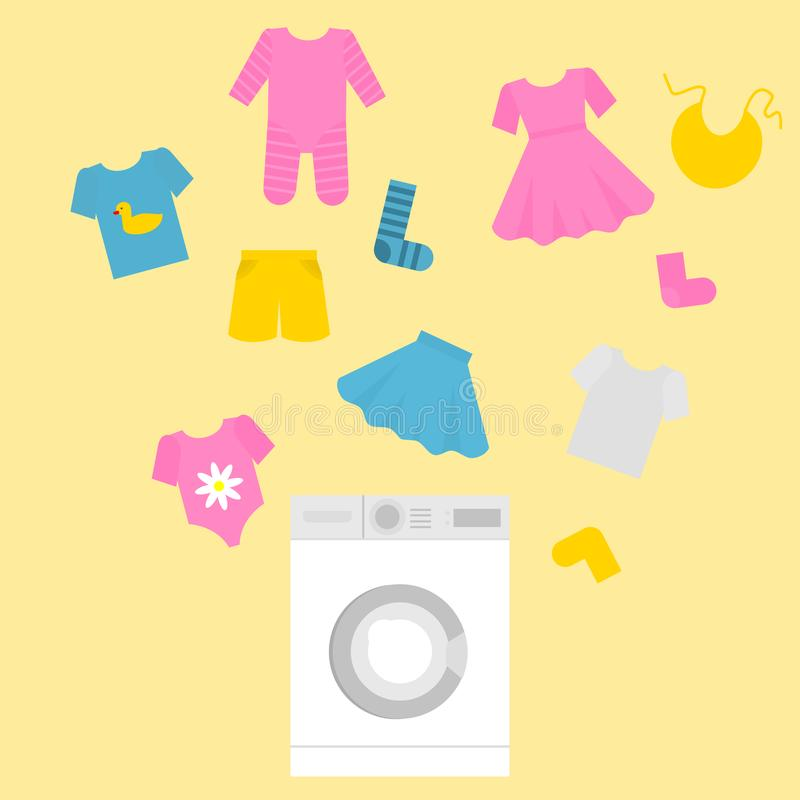 Washing machine in flat style with kids clothes. Laundry for little children. Boys and girls outfit cleaning service.  stock illustration