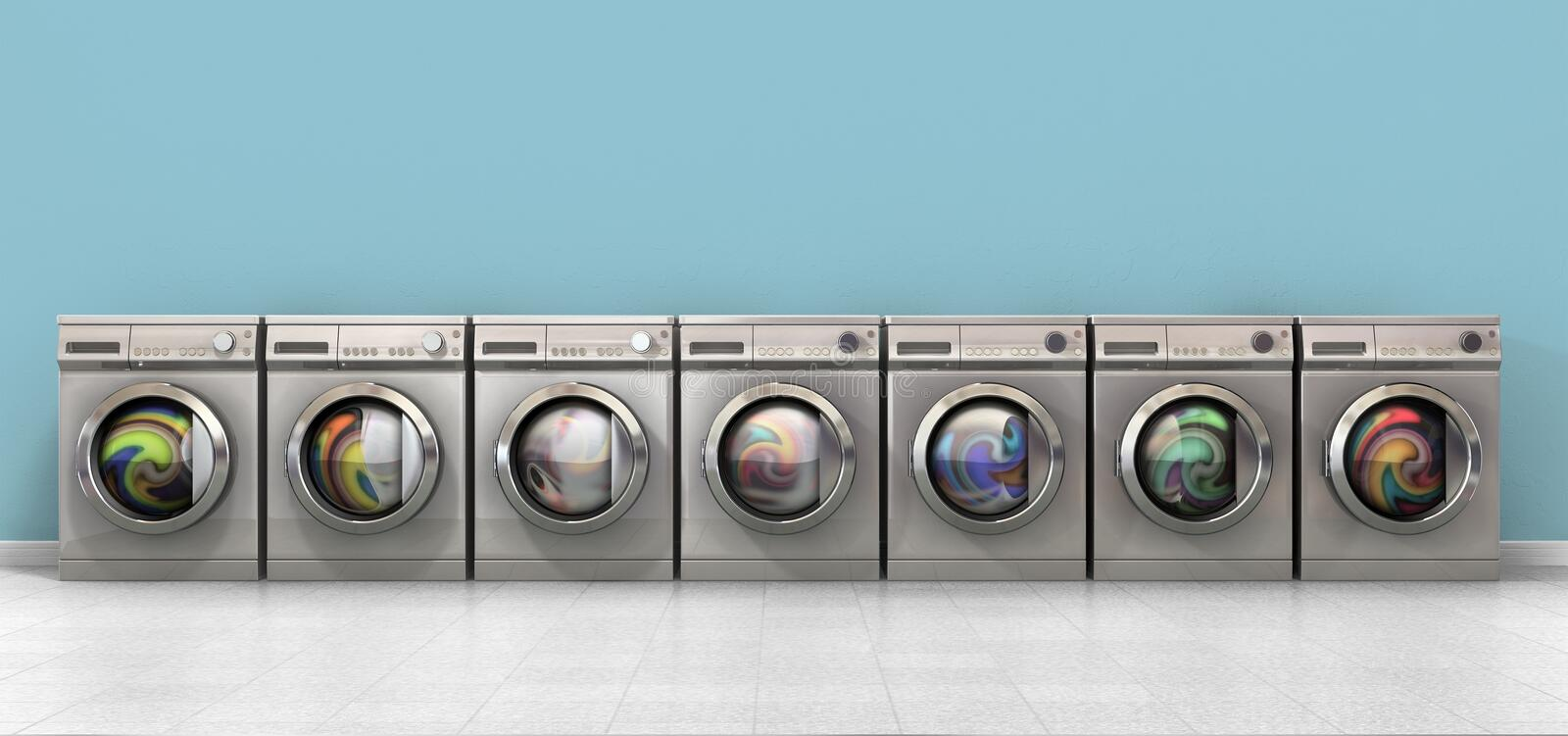 Washing Machine Full Single. A front view of a row of regular brushed metal washing machines filled with clothing in an empty room with a shiny tiled floor and a royalty free illustration