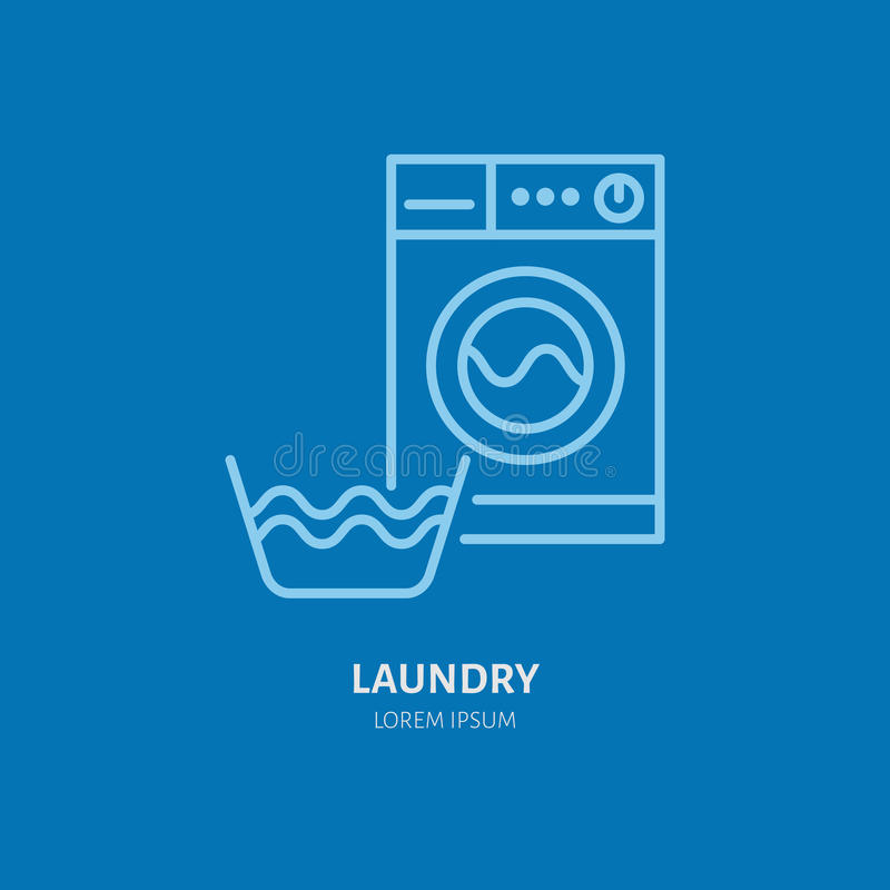 Washing machine icon, washer line logo. Flat sign for launderette service. Logotype for self-service laundry, clothing. Cleaning business stock illustration