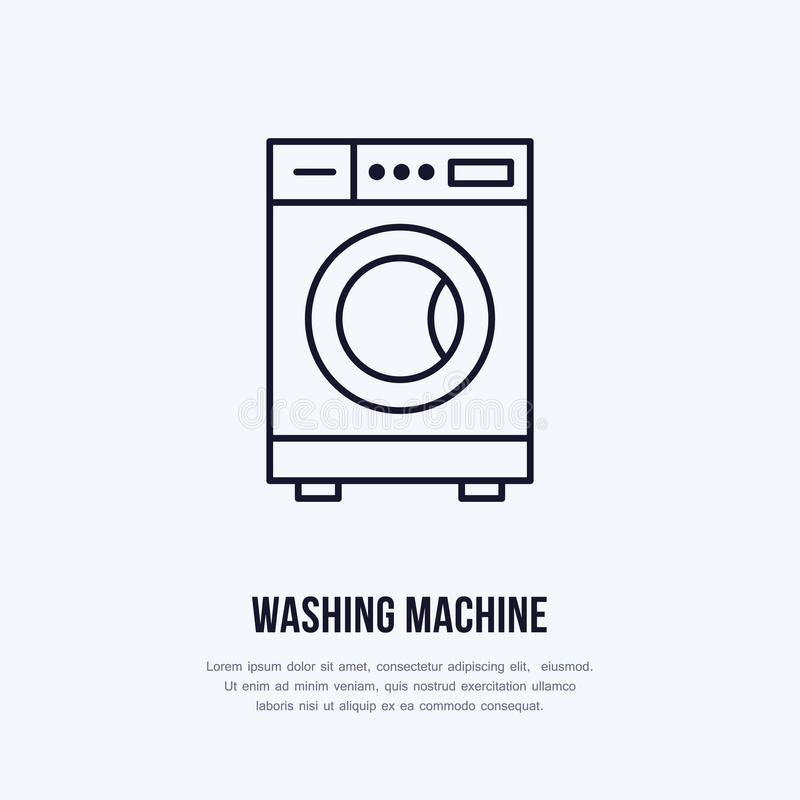 Washing machine icon, washer line logo. Flat sign for launderette service. Logotype for self-service laundry, clothing. Cleaning business or household vector illustration