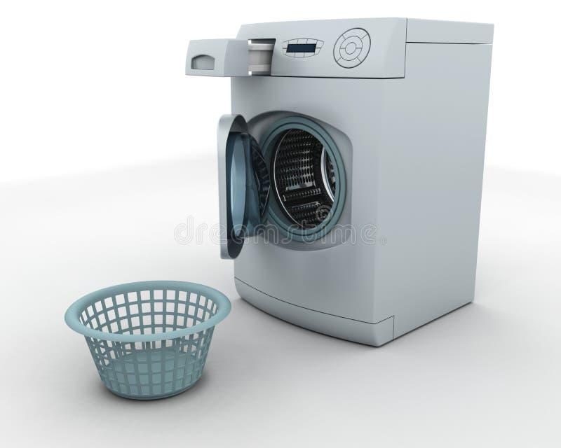 Washing machine and laundry basket royalty free illustration