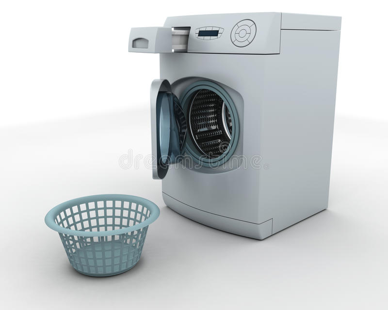 Washing machine and laundry basket. 3D render of a washing machine and laundry basket royalty free illustration
