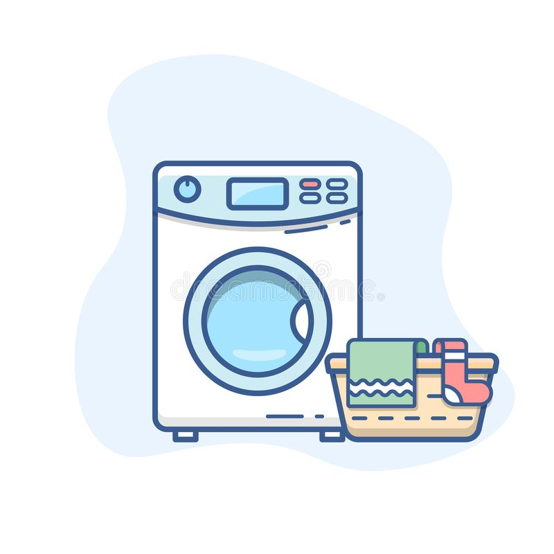 Washing machine with laundry basket vector line icon. Washer with dirty clothes outline illustration. Eps 10 stock illustration