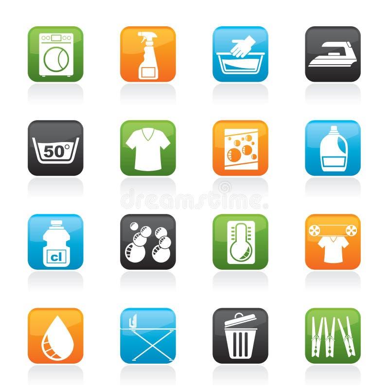 Washing machine and laundry icons. Vector icon set royalty free illustration