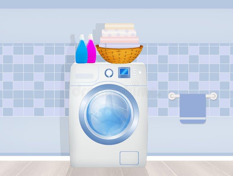 Washing machine and laundry products. Illustration of washing machine and laundry products royalty free illustration