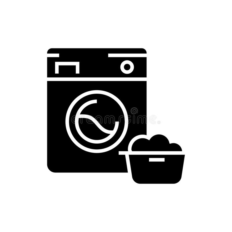 washing machine laundry service icon vector illustration black sign on isolated background. Black Bedroom Furniture Sets. Home Design Ideas