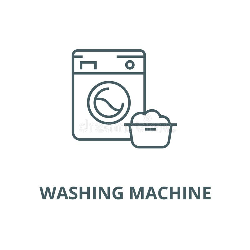 Washing machine,laundry service vector line icon, linear concept, outline sign, symbol. Washing machine,laundry service vector line icon, outline concept, linear vector illustration