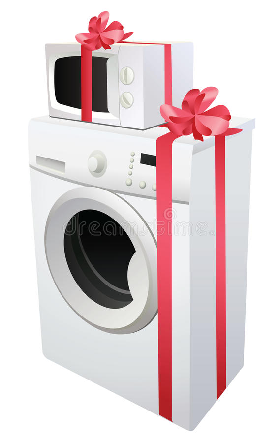 Washing machine and microwave with ribbon stock illustration