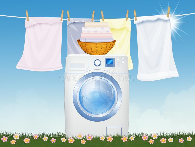 Washing machine in the outdoor lawn. Illustration of washing machine in the outdoor lawn royalty free illustration