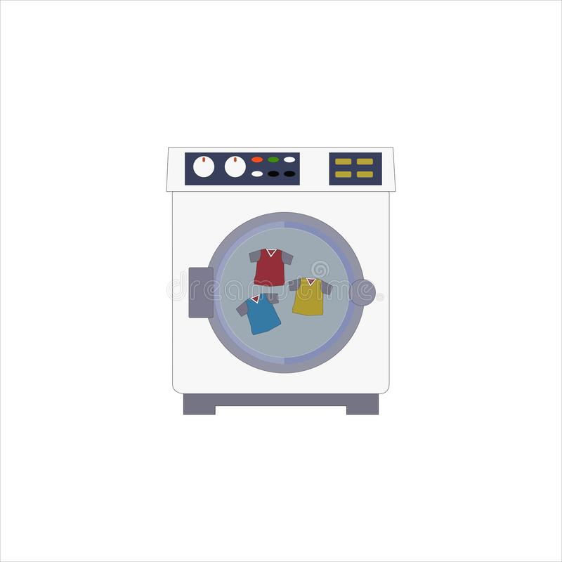 The washing machine and red blue and yellow  t-shirt inside royalty free stock photo