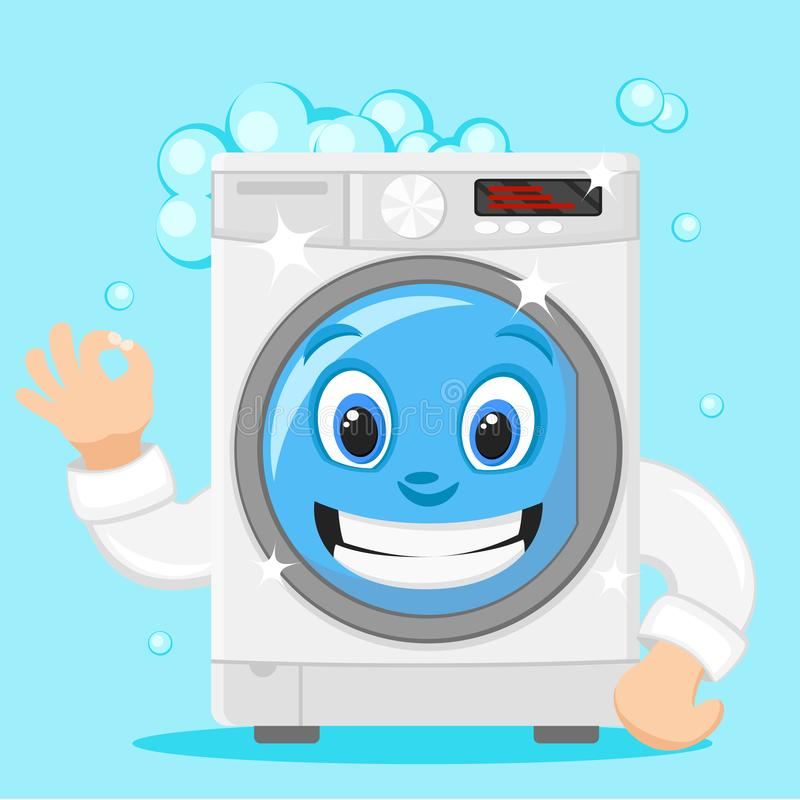 Washing machine smiles and shows the class, on a white. Character. Washing machine smiles and shows the class, on a white background royalty free illustration