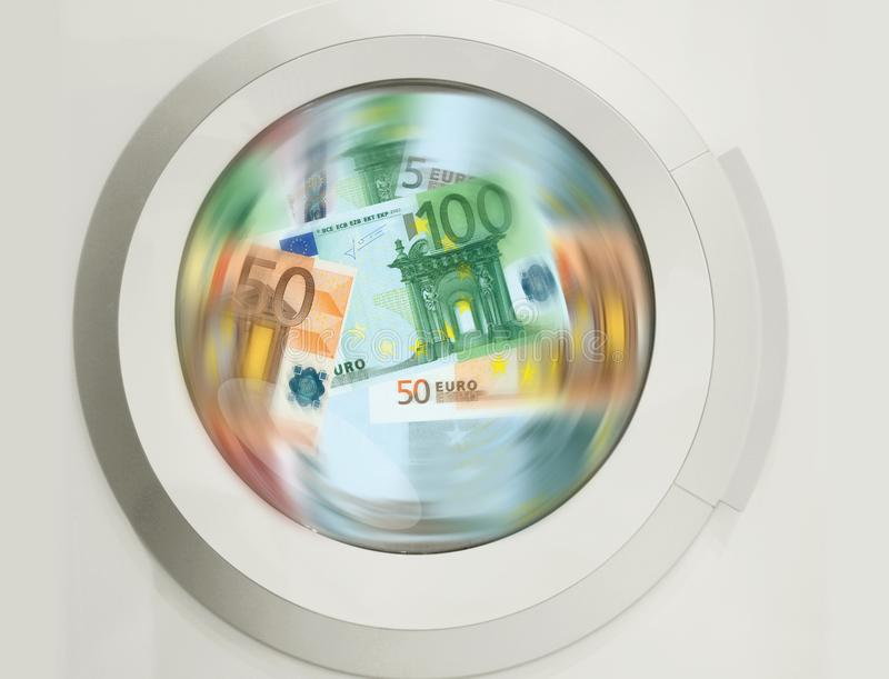 Washing machine cleaning lots of Euro banknotes - concpt showing money laundering, dirty money, hidden wages, salaries black payme royalty free illustration