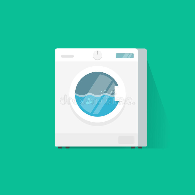 Washing machine vector flat cartoon vector illustration, working laundry machine or clothes washer isolated. Washing machine vector flat cartoon style vector stock illustration