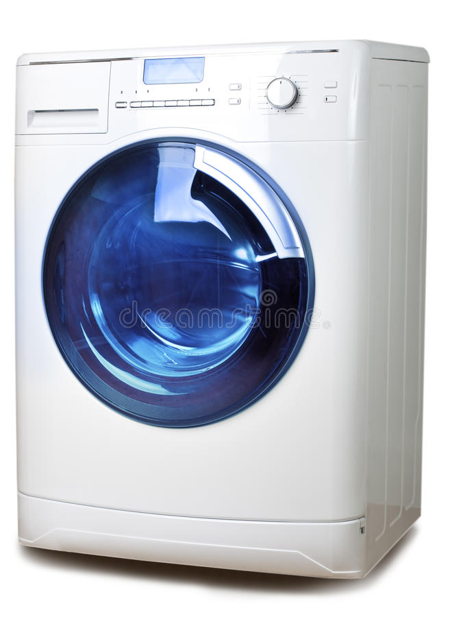 The washing machine on a white background royalty free stock images