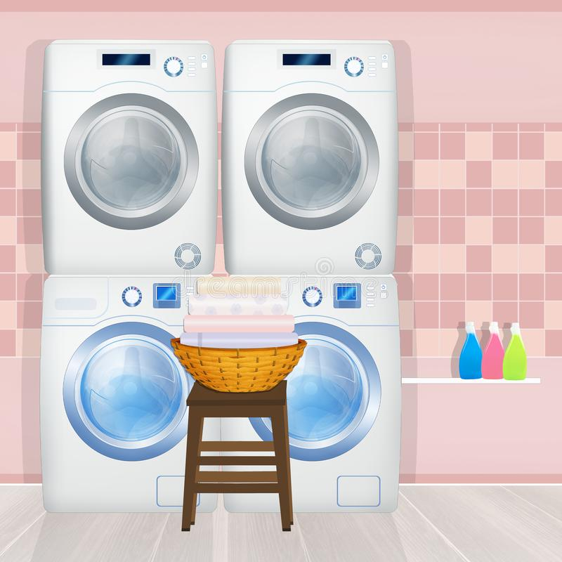 Washing machines and washer-dryers in the laundry room. Illustration of washing machines and washer-dryers in the laundry room vector illustration