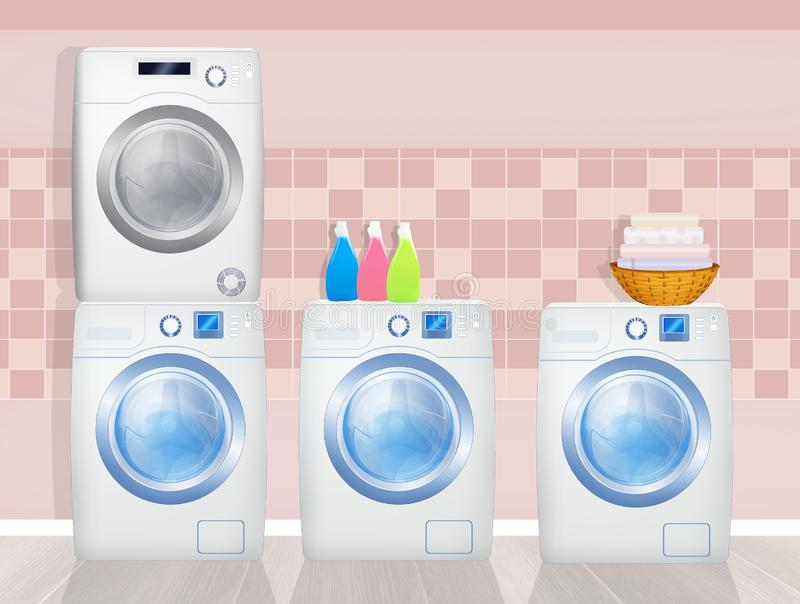 Washing machines and washer-dryers in the laundry room. Illustration of washing machines and washer-dryers in the laundry room royalty free illustration