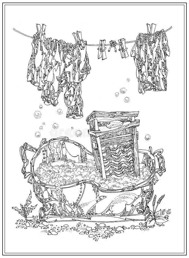 Washing, old stuff. Art graphic from series Old stuff. Laundry in the village vector illustration