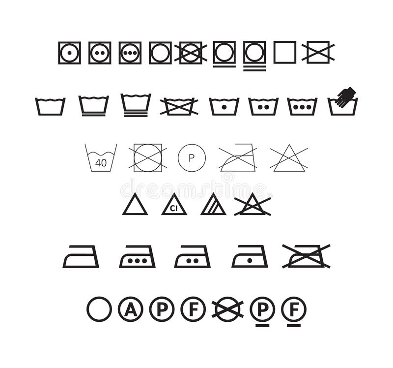 Washing symbols set. High quality icon set of washing symbols. (This image is a illustration and can be scaled to any size without loss of resolution royalty free illustration