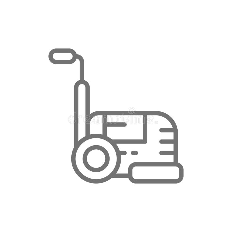 Washing vacuum cleaner, hoover, professional cleaning equipment line icon. Vector washing vacuum cleaner, hoover, professional cleaning equipment line icon stock illustration