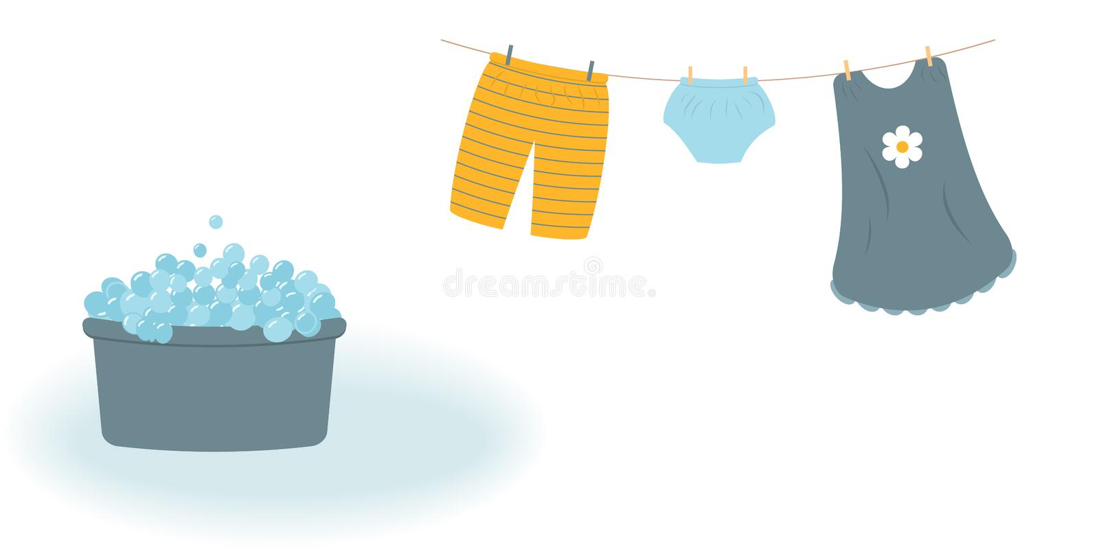 Washing: washed baby clothes cute Capri pants, panties and dress hanging on the clothesline and they are attached by clothespins royalty free illustration