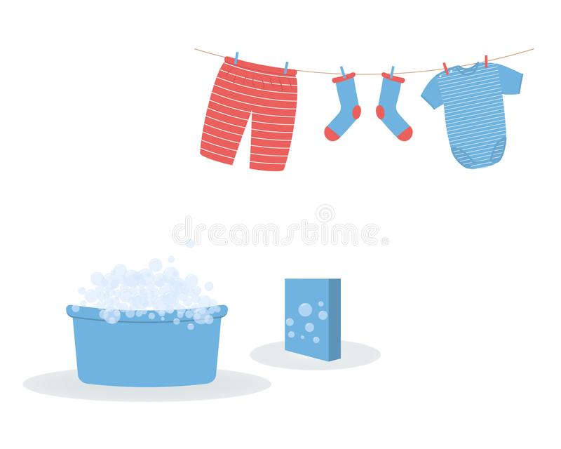 Washing: washed baby clothes cute Capri pants,socks and  bodysuit hanging on clothesline and they are attached by clothespins.Blue vector illustration
