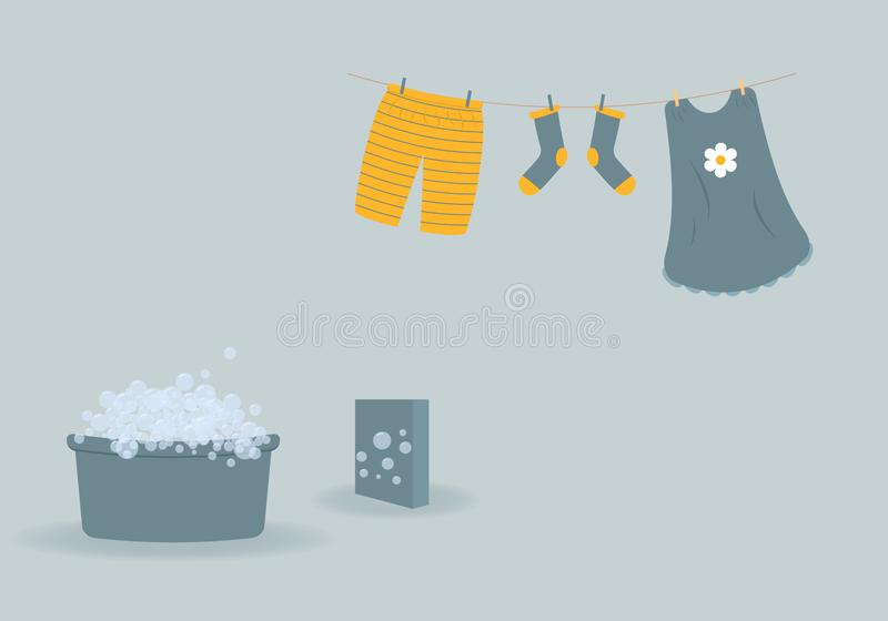 Washing: washed baby clothes cute Capri pants,socks and dress hanging on clothesline and they are attached by clothespins.Blue. Wash basin with soap foam and vector illustration
