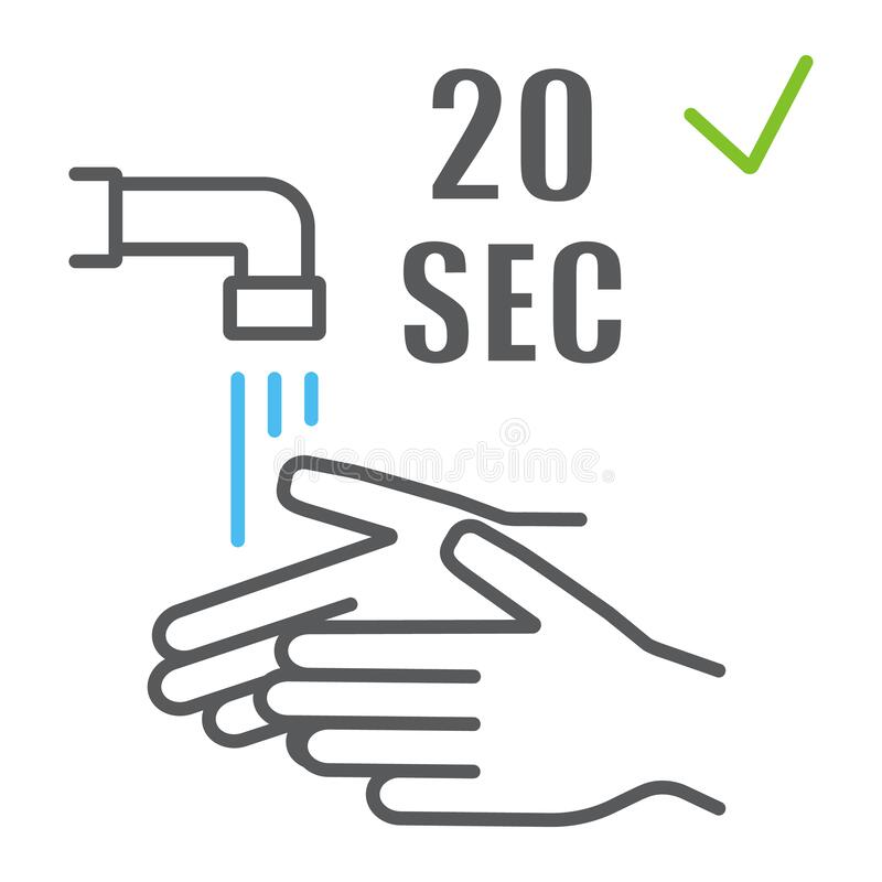 Free Washing Your Hands 20 Seconds Color Line Icon, Wash And Hygiene, Wash Your Hands Sign, Vector Graphics, A Linear Pattern Stock Images - 177673104