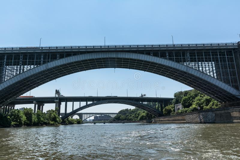 Washington Bridge, Hamilton Bridge and High Bridge over the Harlem River, Manhattan, NYC. View of Washington Bridge, Hamilton Bridge and High Bridge from the royalty free stock images