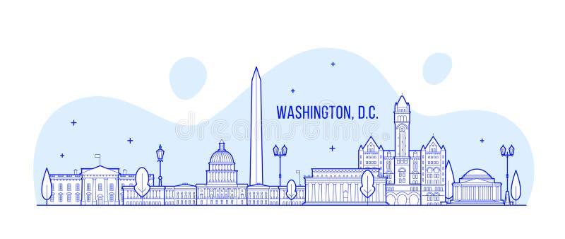 Washington, C C vetor da construção da cidade dos EUA da skyline ilustração do vetor