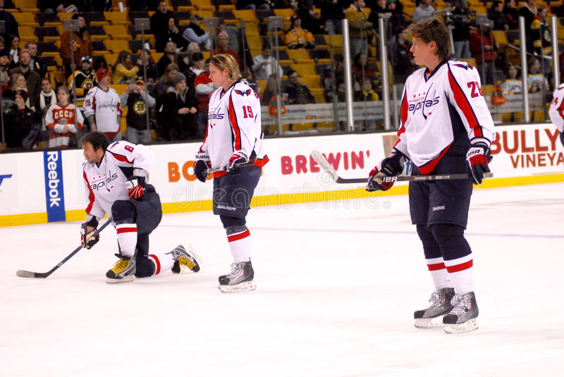 Washington Capitals Pre-Game Skate. Alex Ovechkin (l), Nicklas Backstrom (c) and Alexander Semin (r) relax during a pre-game skate in Boston, MA stock photography